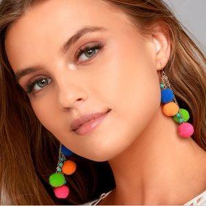 Vibrant pom pom earrings